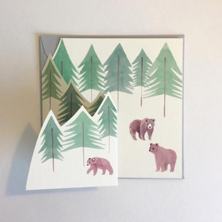 Greeting card showing woodland with bears in it