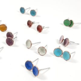 8mm copper enamel concave stud assorted colours