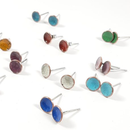 8mm copper enamel concave stud assorted colours