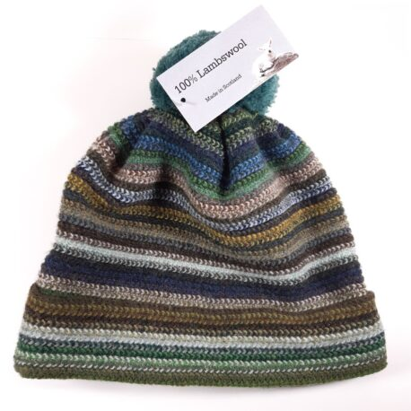 Inject some colour on a cold and dark winters day. 100% Lambswool striped adults hat with pompom/bobble. Made in Scotland. Matching items available.