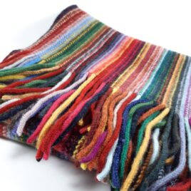 Colourful striped scarf with fringed ends. Great colourful scarf to cheer up a cold and dark winter day. Matching items and other colourways available.