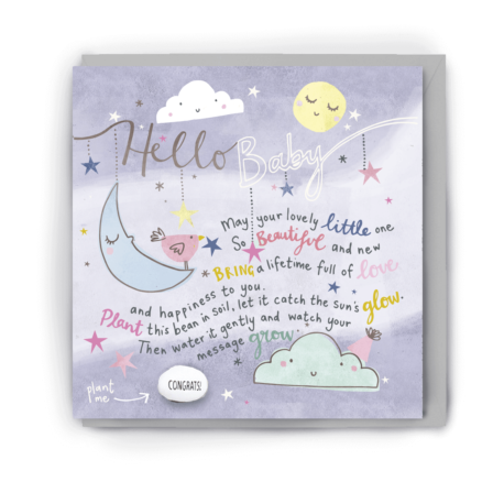 Greetings card with stars, a cloud and sleeping moons in pale, pastel tones on it along with the words 'hello baby' and a short poem