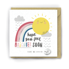 "Colourful greetings card with a rainbow, sun and rain clouds and the words ""hope you feel brighter soon'"