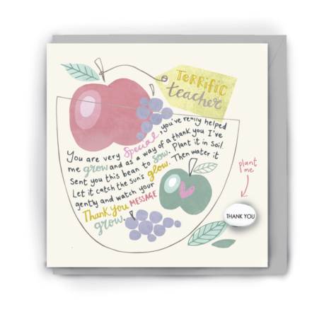 Greetings card with flowers and grapes in muted tones on it along with the words 'terrific teacher' and a short poem