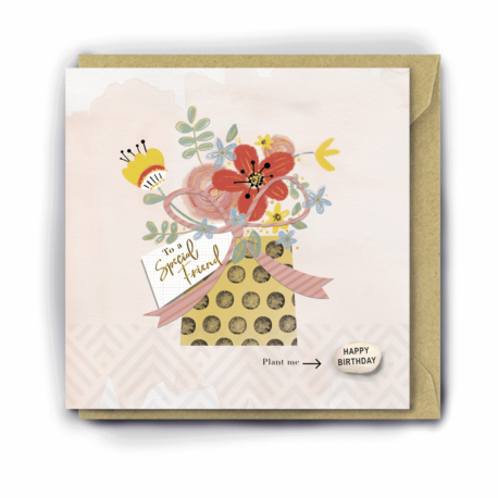 Greetings card with an illustration of a bouquet of colourful flowers in a spotty box with a pink bow