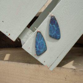 Butterfly wing patterned copper enamel drop earrings in blue