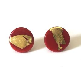 Gold Red Handmade Glass Button Stud Earrings