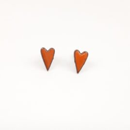 Elongated heart studs in deep orange