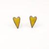 Copper enamel elongated heart stud earrings in buttercup yellow