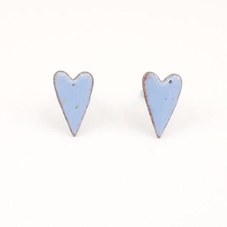 copper enamel elongated heart studs in pastel blue