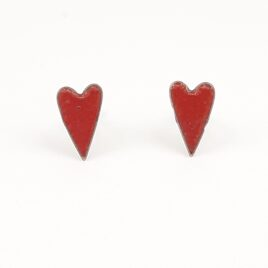 Copper enamel elongated heart studs in bright red