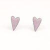 Copper enamel elongated heart studs in light pink