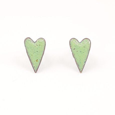 Copper enamel elongated heart earrings in celadon green