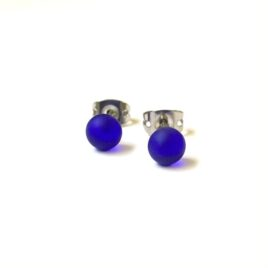 Frosted Cobalt Handmade Glass Mini Stud Earrings