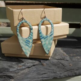 Contrasting blue and white copper enamel tear drop studs