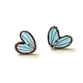 Handmade Butterfly Wing Studs, Neptune Blue