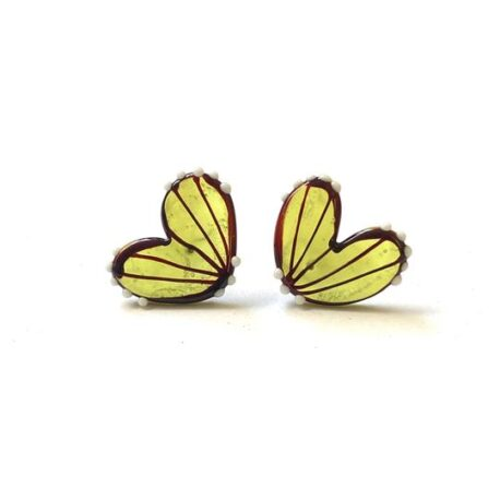 Handmade Butterfly Wing Studs, Chartreuse