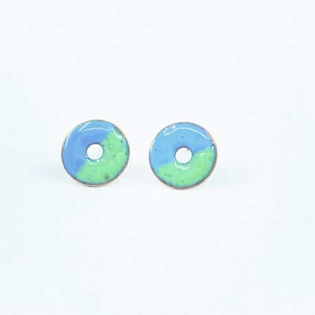 Copper enamel circle studs in pale blue and celadon green