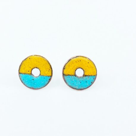 Duo colour copper enamel circle studs in sunflower yellow and sea blue