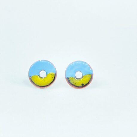 Duo colour copper enamel circle stud in pale blue and buttercup yellow