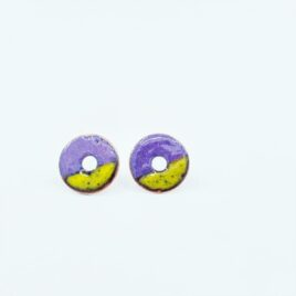 Duo colour circle studs in purple and buttercup yellow