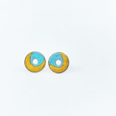 Duo colour copper enamel circle studs in sea blue and sunflower yellow