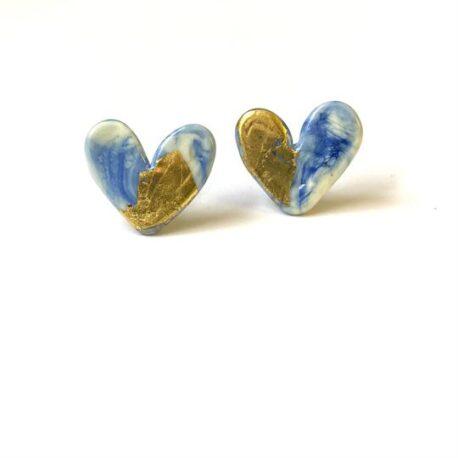 delft blue glass hearts