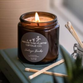 vintage books candle
