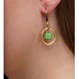 Leticia Tagua nut hoop earrings Green