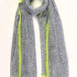 Animal print grey scarf with neon fringing