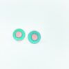 duo enamel studs in duck egg green and pink