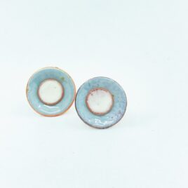 duo enamel studs in silver grey and ivory