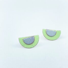 Half circle copper enamel duo studs in leaf green and grey