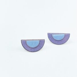 Half circle copper enamel duo studs in light purple and pale blue