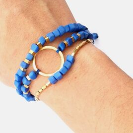 Leticia Triple Mini Tagua Bracelet with Brass – Cobalt Blue