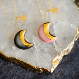 Pink moon & star porcelain necklace (Copy)