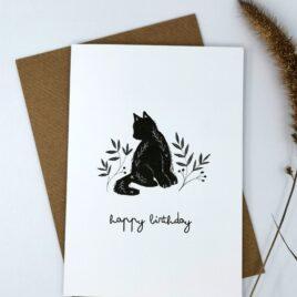 Black cat birthday A6 card