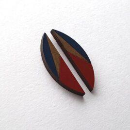 Ishbel Watson Small Half-Moon Earrings -Navy & Red
