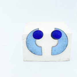 Statement half circle dangle earrings in pastel blue and dark blue