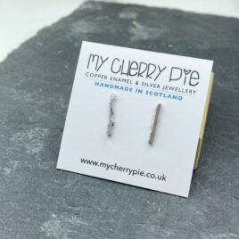 Recycled silver rectangle stud earrings