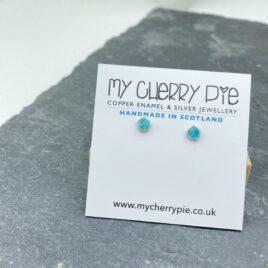 Recycled silver flat circle enamel stud earrings