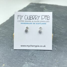 Recycled silver textured double stud earrings