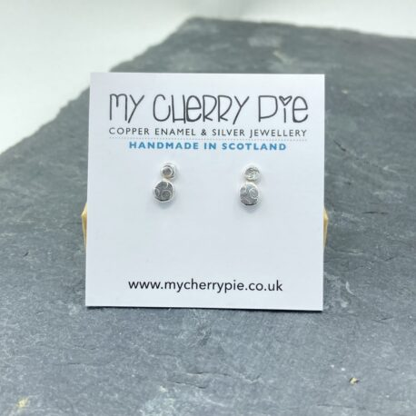 textured double stud recycled silver earrings