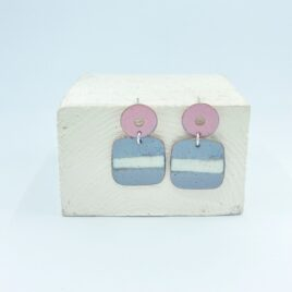 Geometric square drop earrings in silver grey, ivory and pink