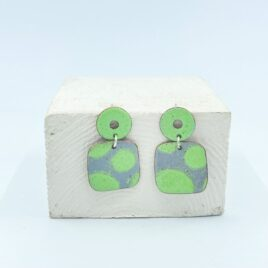 Geometric square drop earrings in silver grey and lime green