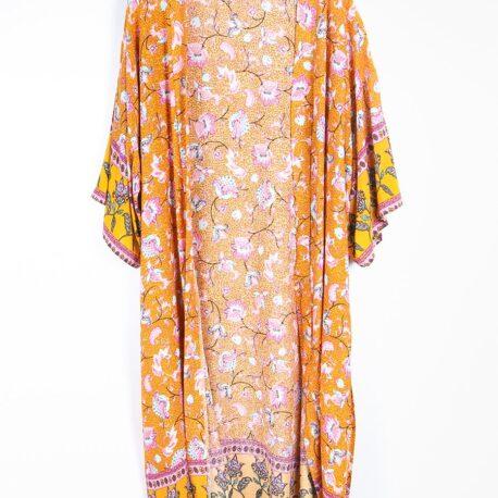 Mustard Floral Print Long Line Kimono with Border