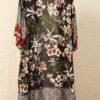 Black Floral and Leaf Print Ornate Border Long Line Kimono