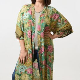Olive Green and Pink Oriental Patterned Long line Kimono