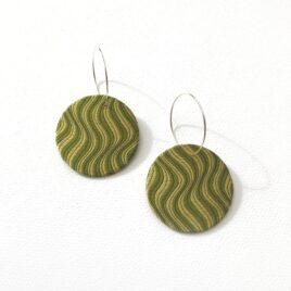 Silky Moons -Hoop an Moon Dangly Earrings in green