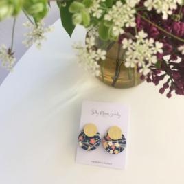Silky Moons Two Moons Stud earrings in floral
